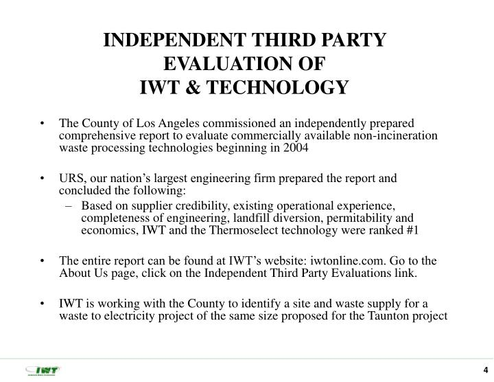 INDEPENDENT THIRD PARTY EVALUATION OF