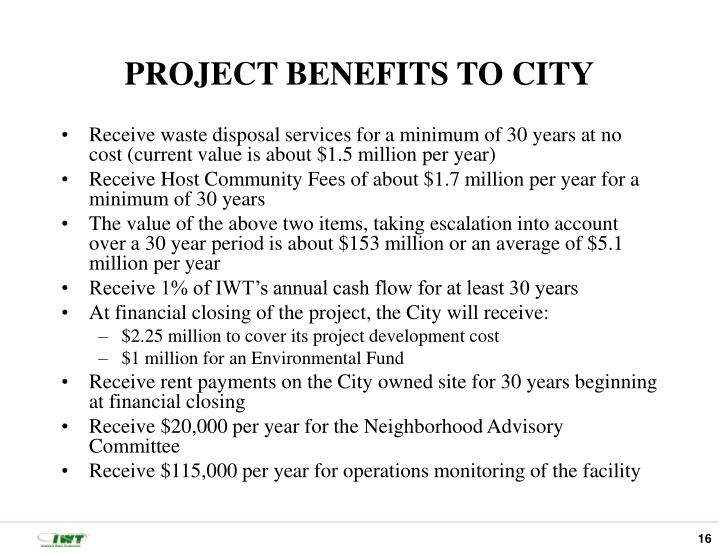 PROJECT BENEFITS TO CITY