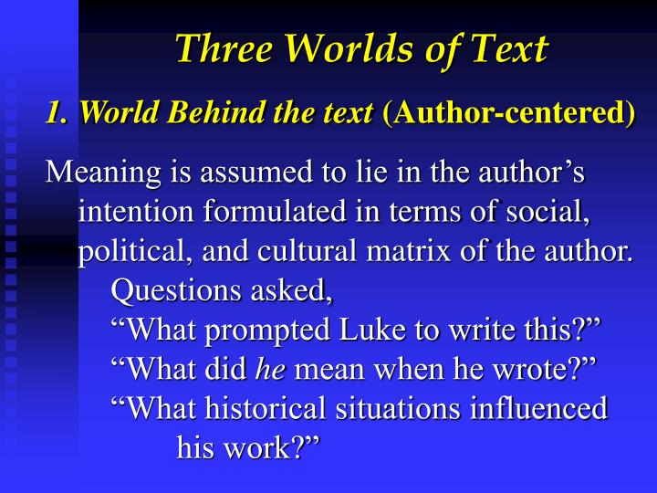 Three Worlds of Text
