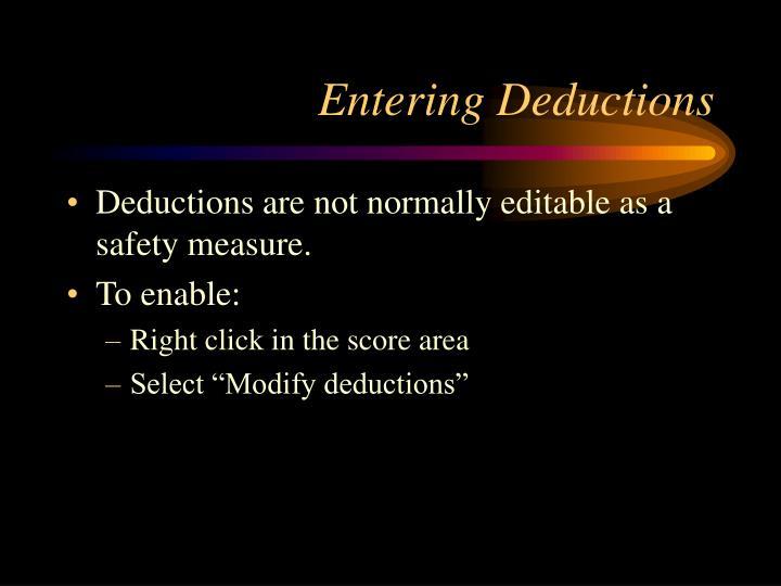 Entering Deductions