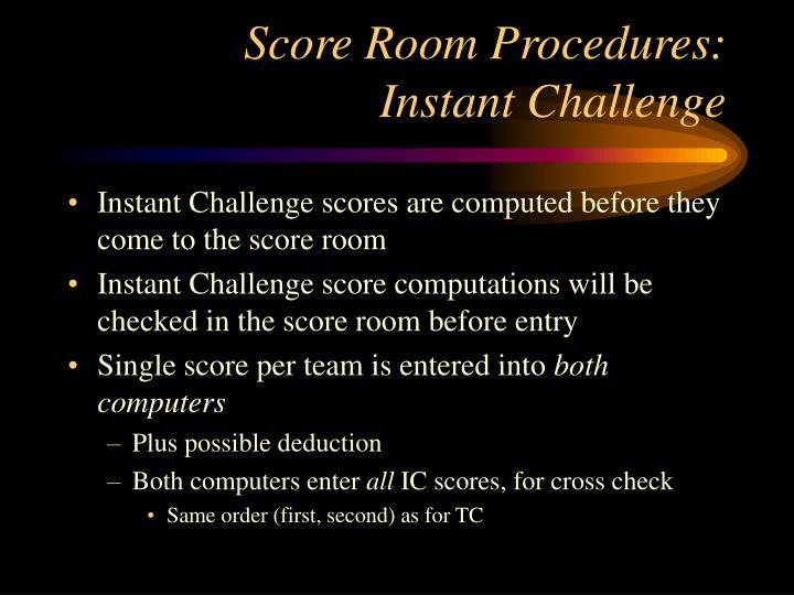 Score Room Procedures: