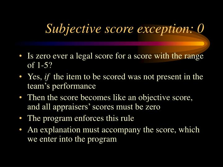 Subjective score exception: 0
