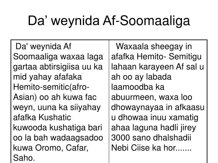 Da' weynida Af-Soomaaliga