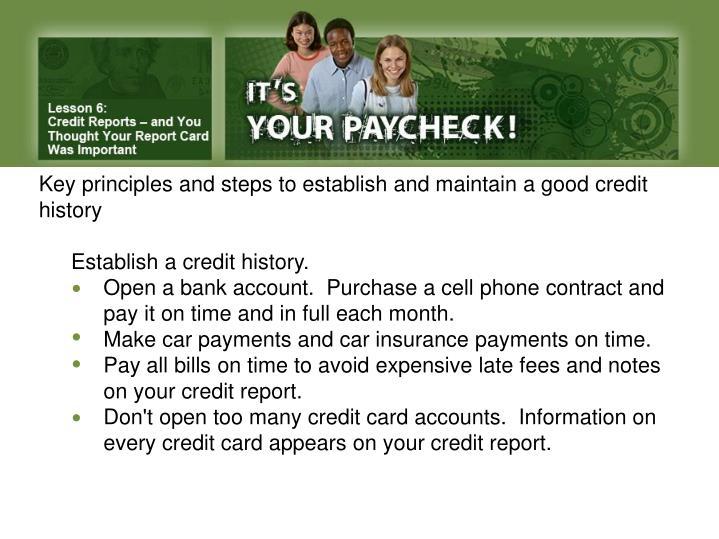 Key principles and steps to establish and maintain a good credit history