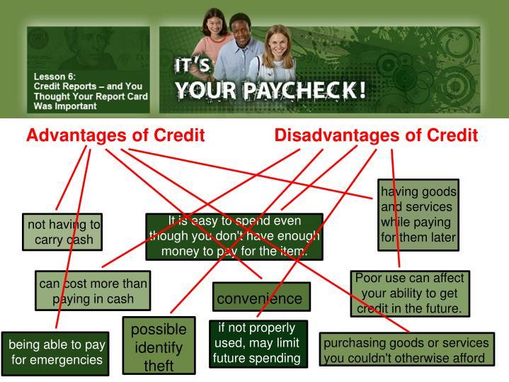Advantages of Credit              Disadvantages of Credit