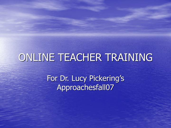 online teacher training n.