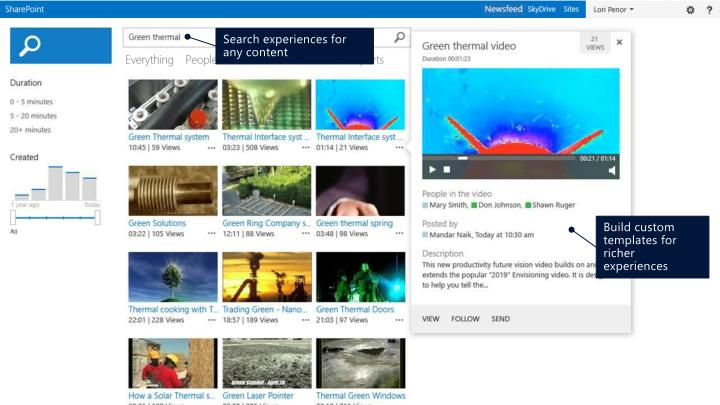 Search experiences for any content