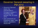 governor general swearing in pm 2010