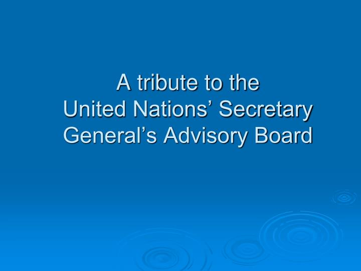 A t ribute to the united nations secretary general s advisory board