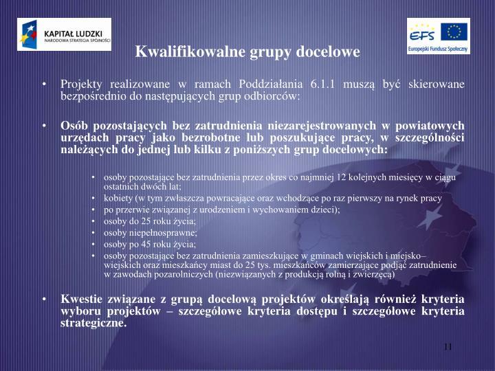 Kwalifikowalne grupy docelowe