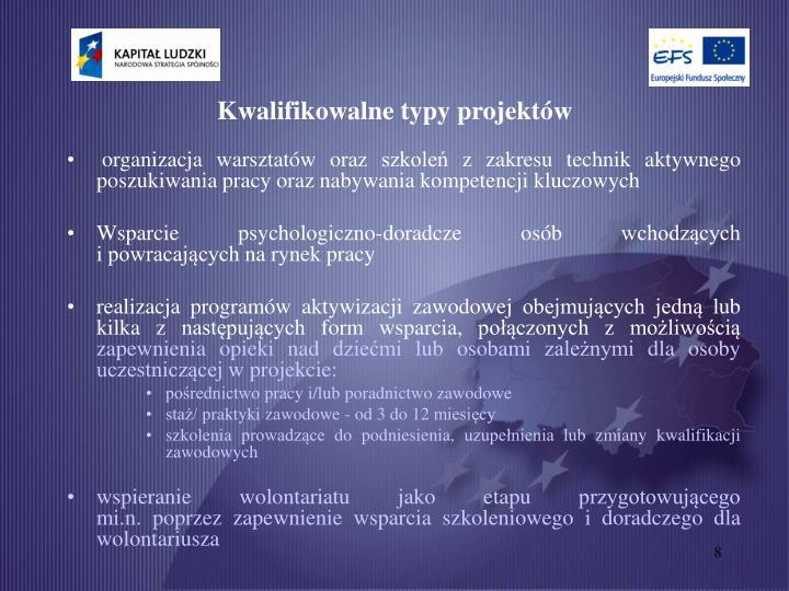 Kwalifikowalne typy projektów