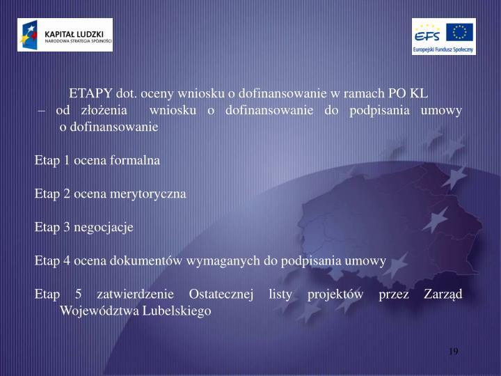 ETAPY dot. oceny wniosku o dofinansowanie w ramach PO KL