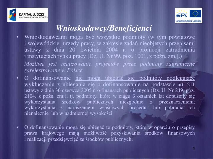 Wnioskodawcy/Beneficjenci