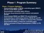 phase 1 program summary