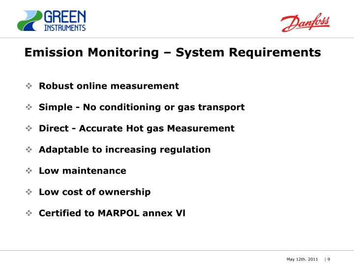 Emission Monitoring – System Requirements