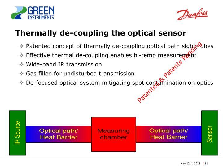 Thermally de-coupling the optical sensor