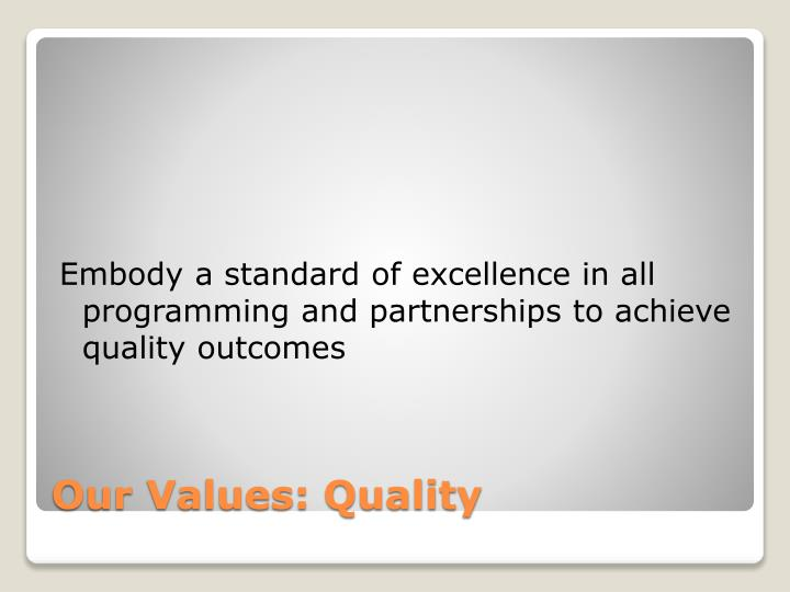 Embody a standard of excellence in all programming and partnerships to achieve quality outcomes