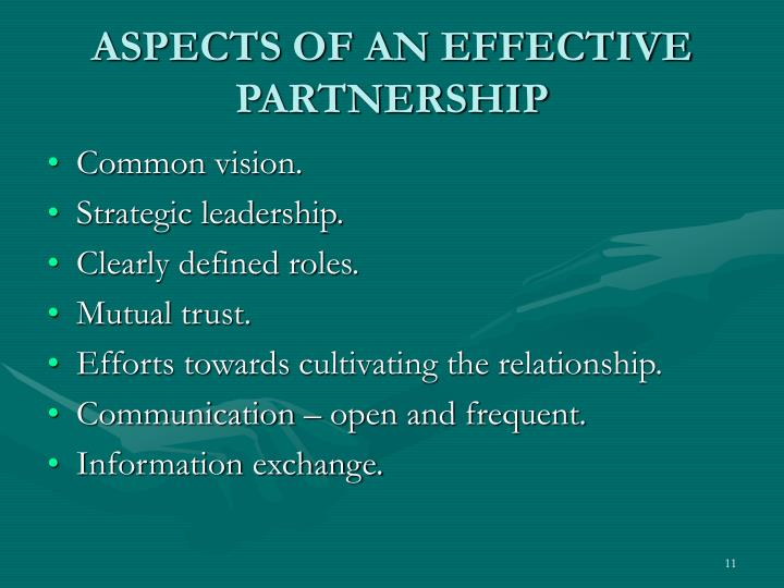 ASPECTS OF AN EFFECTIVE PARTNERSHIP