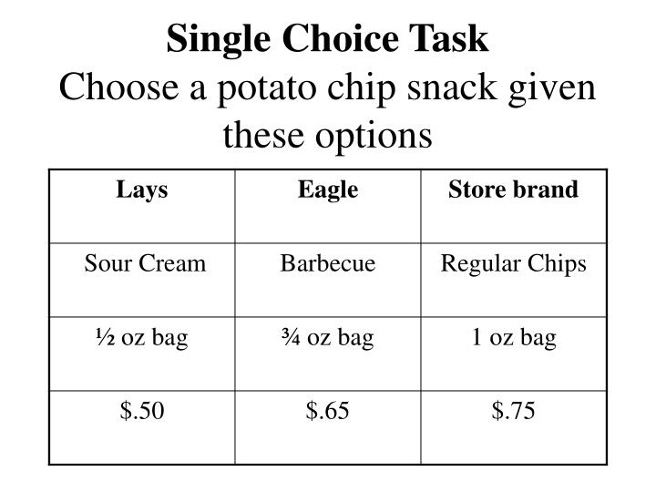 Single choice task choose a potato chip snack given these options