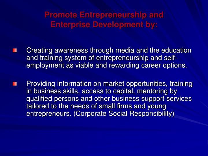 Promote Entrepreneurship and