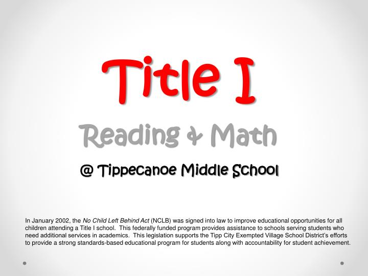 Title i reading math @ tippecanoe middle school