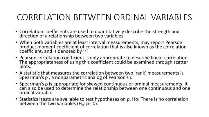 CORRELATION BETWEEN ORDINAL VARIABLES