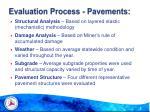 evaluation process pavements