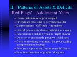 ii patterns of assets deficits red flags adolescent years