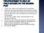 tips strategies to help my child succeed on the reading fcat