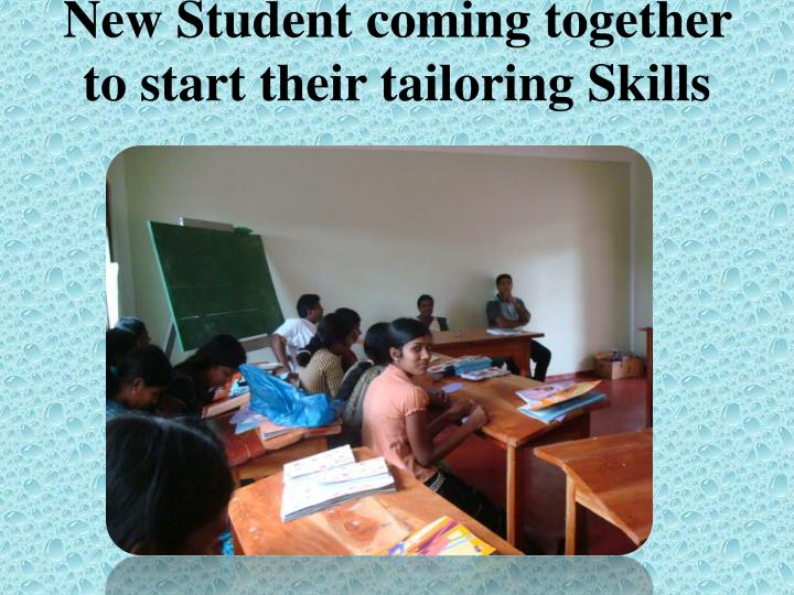 New Student coming together to start their tailoring Skills
