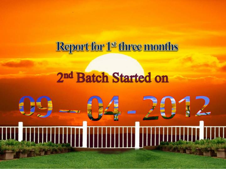 Report for 1 st three months