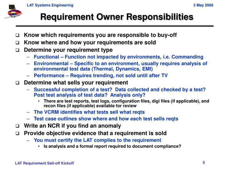 Requirement Owner Responsibilities