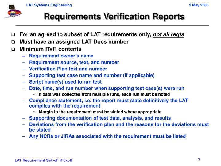 Requirements Verification Reports
