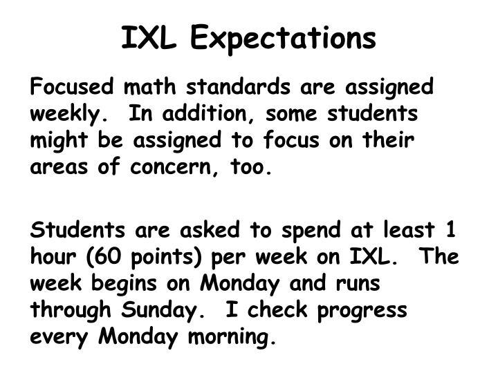 IXL Expectations