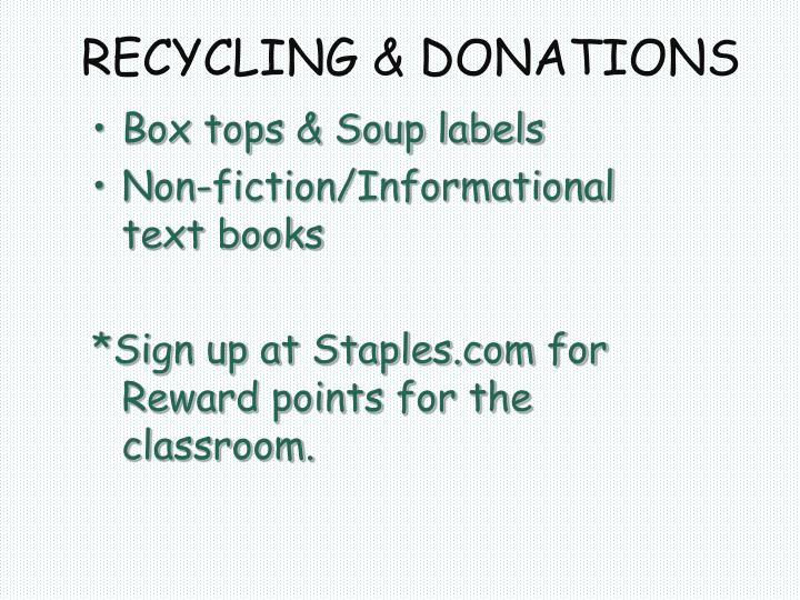 RECYCLING & DONATIONS