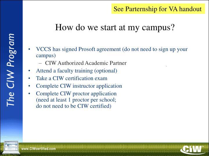 See Parternship for VA handout