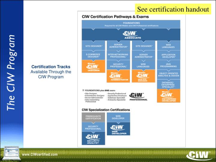 See certification handout
