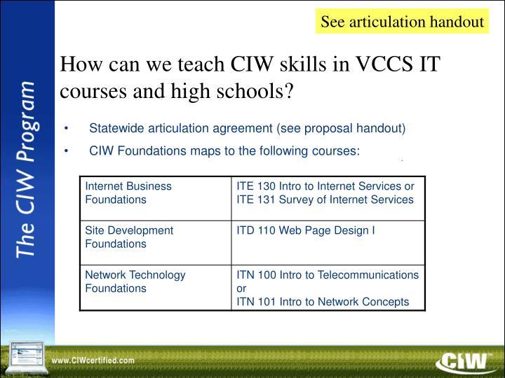 See articulation handout