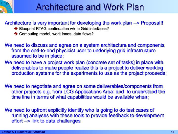 Architecture and Work Plan
