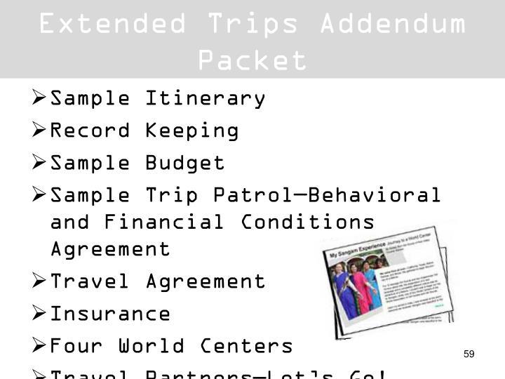 Extended Trips Addendum Packet
