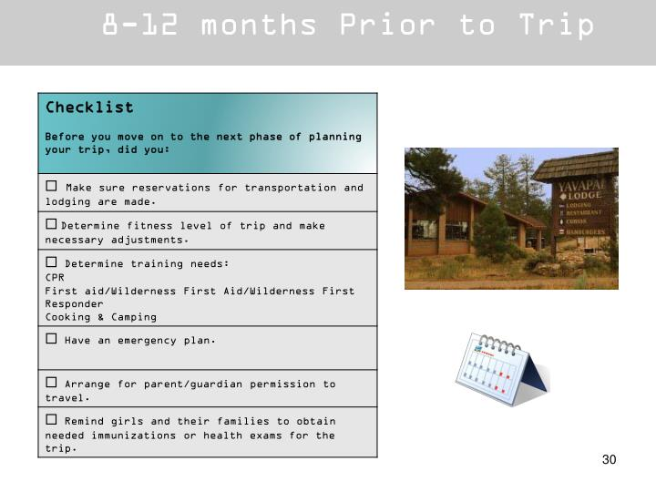 8-12 months Prior to Trip