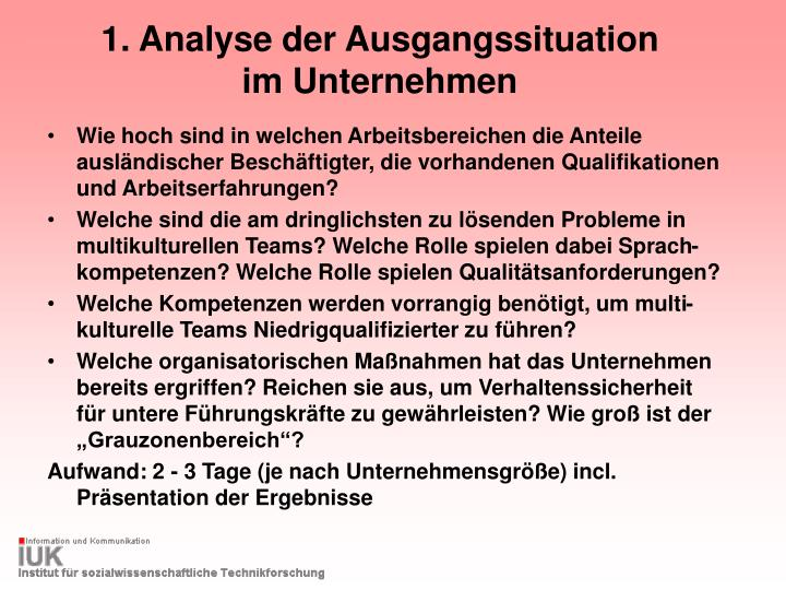 1. Analyse der Ausgangssituation