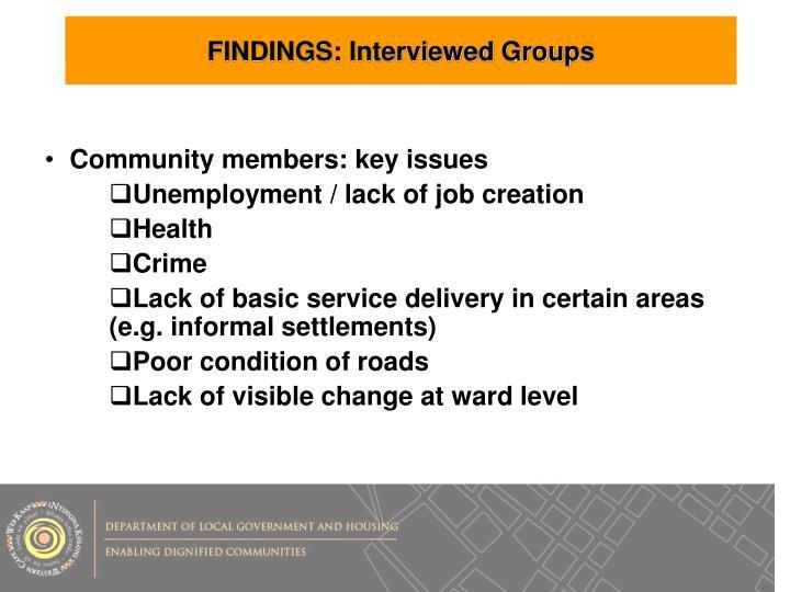 FINDINGS: Interviewed Groups