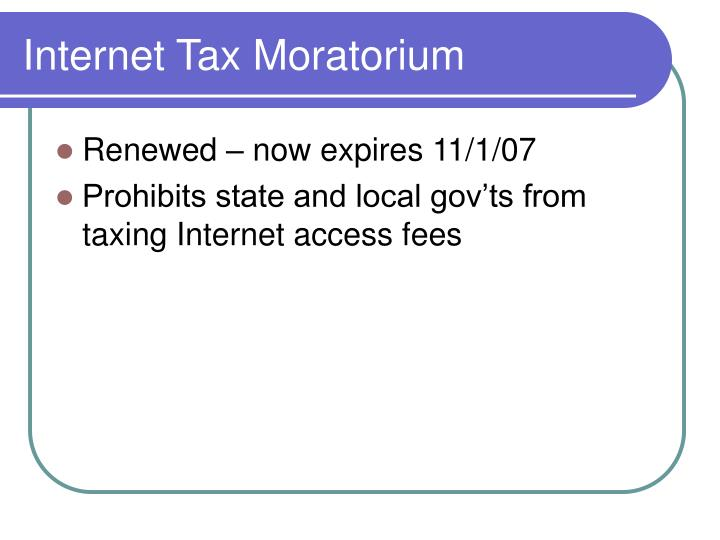 Internet Tax Moratorium