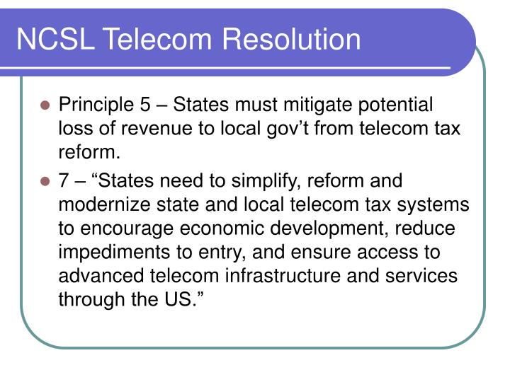 NCSL Telecom Resolution