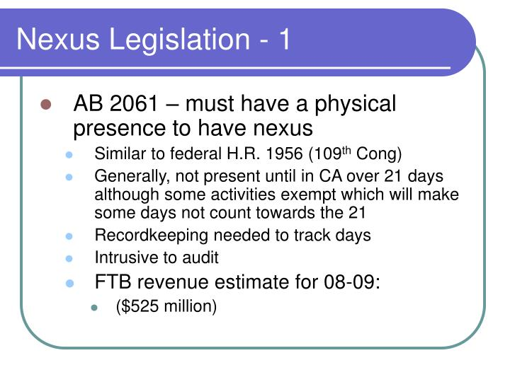 Nexus Legislation - 1