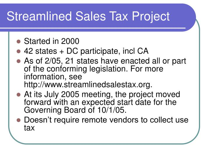 Streamlined Sales Tax Project