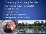 summary stationary receivers