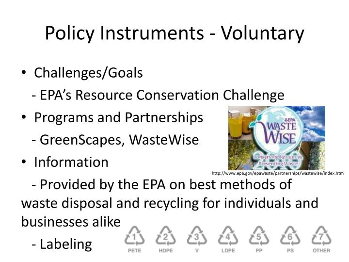 Policy Instruments - Voluntary
