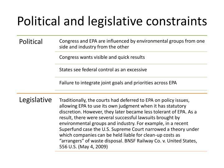 Political and legislative constraints